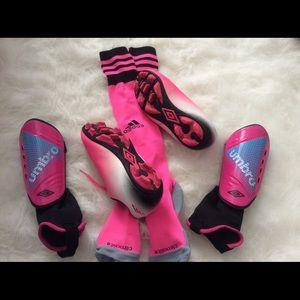 Girl spikes, knee highs socks and shin guards
